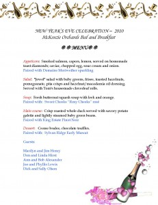 New Years Menu created from Free-Stationery.com Holiday Stationery